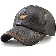 Roffatide Hombre Cuero de la PU Gorra de Beisbol Sombrero de Sol Deportes  al Aire Libre 2bf3dbb83cc