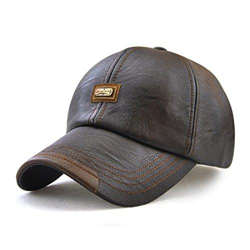 Roffatide Hombre Cuero de la PU Gorra de Beisbol Sombrero de Sol Deportes al Aire Libre Otoño e Invierno Marron Oscuro