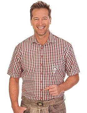 Trachten Herren Hemd mit 1/2 Arm - ROLF - grün, weinrot