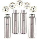 Sizzle New Design Unbreakable Stainless Steel Leak Proof Fridge Water Bottle, 4 Pc, 1000 Ml, Silver