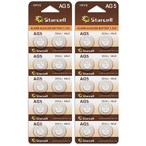 Act 20 Alkaline Knopfzellen ohne Quecksilber AG5/LR48/LR754/393/1,5 Volt, 10er-Pack