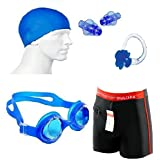 Krazy Fitness Swimming Kit (Silicon Cap, Silicon Ear Plug, Swimming Nose Clip, Swimming Goggles With Authentic Men Adult Swim Trunks Boxer Nylon