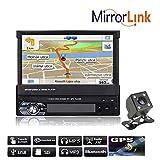 Boomboost 1 Din 7 Pouces 1080P Autoradio Stéréo Joueur Prise en Charge de l'écran Tactile LCD Bluetooth Mains Libres GPS avec caméra arrière (9601g+Rear Camera)