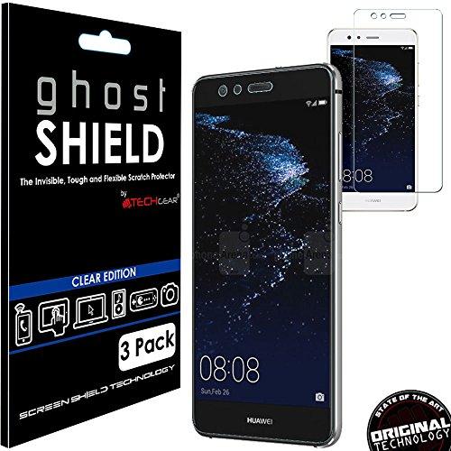 TECHGEAR [3 Stück Displayschutz Kompatibel mit Huawei P10 Lite - [ghostshield] Genuine verstärkte TPU Displayschutzfolie Guard mit Gesamte Bildschirm Deckung inkl. Gebogener Bereich Film Protector Guard