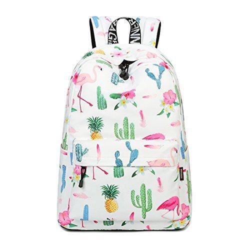 Süß Schule Rucksack für Jungen und Mädchen Leicht Schick Bedruckt Bücher Tasche Flamingo 844 ()