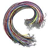 Natuce 100PCS 2mm Collar de algodón encerado, Waxed cadena cera cordón collar langosta Cuerda de Cuero con Cadena de Extensión y Cierre de Langosta para joyería que hace (B)