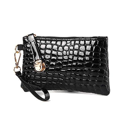 ZPFME Womens Tote Handbag Modello Coccodrillo Borsa A Tracolla Set Shopper Cuoio Party Retro Banchetto Borsa Donna Black
