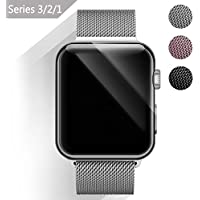 BeYself Cinturino Apple Watch 38mm, Loop in Maglia Milanese Acciaio Inossidabile con Chiusura Magnetica Regolabile Bracciale Strap Band for Apple Watch Band Series 3 / 2 / 1 - Argento