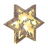JEMID LED Holzstern 35cm aus Holz mit warmweissen LED´s Weihnachtsdekoration Dekolicht Advent Holzdekoration Weihnachtliche Stern Sterne