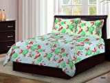 Bombay Dyeing Axia Designer Green Beautiful Floral Print Cotton 104 TC Double Bed Sheet With Two Pillow Covers