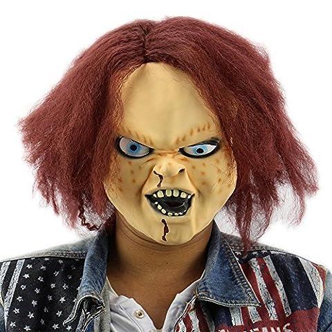 Chucky die Mörderpuppe Killer Maske mask Kopf aus sehr hochwertigen Latex Material mit Öffnungen an Augen Halloween Karneval Fasching Kostüm Verkleidung für Erwachsene Männer und Frauen Damen Herren gruselig Grusel Zombie Monster Dämon Horror (Chucky Maske Kostüm)
