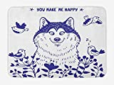 Klotr Zerbino Alaskan Malamute Bath Mat, Happy Doggy in Blossoming Spring Field with Singing Birds And Flowers, Plush Bathroom Decor Mat with No Slip Backing, 23.6 X 15.7 Inches, Blue White
