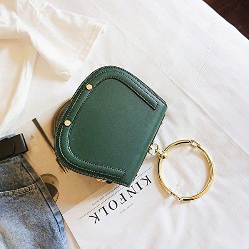 Weibliche Einzelne metall tragbare kleine runde tasche Schulter messenger bag Grün