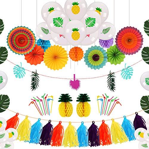 Ucradle Tropische Ballons Party Dekoration Kit, 114 Stück Hängende Papierfächer Pompoms Blumen, Hawaii Ananas Wabenball, Banner, Künstliche Palmenblätter für DIY Garten Beach Party Deko -