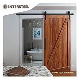 intersteel Basic matt schwarz Schiebetür System für Barn Holz Tür, schwarz, 6.6ft/200cm