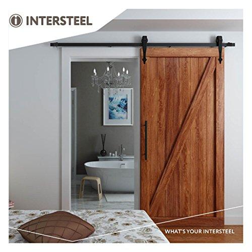 Schwarze Holz-tür (intersteel Basic matt schwarz Schiebetür System für Barn Holz Tür, schwarz, 6.6ft/200cm)