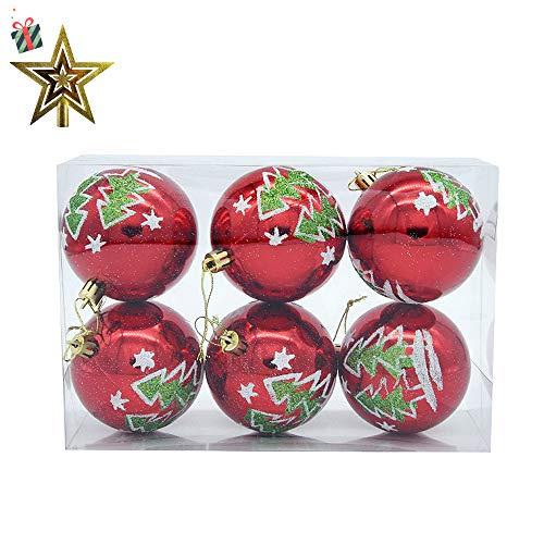 Palline per albero di natale, morbuy 6 pezzi diametro 8cm palle di natale in plastica scatola porta applique ornamenti festa decorazioni natalizie albero palle per matrimoni (8cm,alberi di natale)