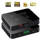 Teepao splitter HDMI 1in 2out, 1080p 4K 1x 2HDCP 3D splitter alimentazione amplificatore di segnale HDMI Switch box