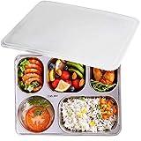 Lunchbox, aiyoo 304 Edelstahl Food Container, 3 fach Bento Boxen für Schüler erwachsene Kinder Picknick, Restaurant Behälter, Speisewärmer, Unterteilung Serviertablett mit Deckel 5 Compartment silber