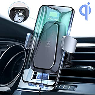 VANMASS Wireless Car Charger, Auto Clamping Qi Car Mount, 10W 7.5W 5W Fast Charging, Car Phone Holder Air Vent for Samsung S10 S10e Note 9 S9 + S8 S7 Edge, iPhone X XR XS Max 8 Plus, Huawei, Sony