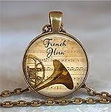 corno francese & musica ciondolo, ciondolo a forma di corno, ciondolo a forma di musica musica, gioielli Music Gift