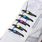 Hickies 2.0 Performance elastische Schuhbänder, Einheitsgröße, kein Schnüren erforderlich - schwarz/bunt