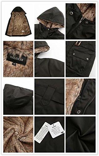 Damen Warm Trenchcoat Mit Abnehmbaren Liner Lang Daunen Mantel Kunst Fell Winter Jacke Schwarz DE:36 / US:XS - 4