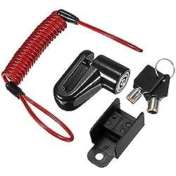 JenNiFer Scooter Eléctrico Antirrobo Cable De Acero Bloqueo Frenos De Disco Ruedas Armario para Xiaomi Mijia M365 - Negro
