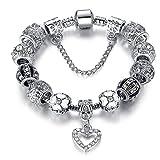 LUXURY - Bracciale da donna di colore argento modello CUORE con charms. Lunghezza 19 cm. Idea regalo per san valentino natale e festa della mamma.