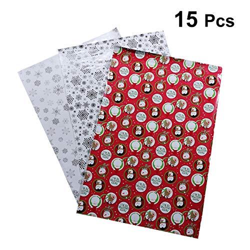 STOBOK 15 Blätter Weihnachtspapier Geschenkpapier DIY Handwerk Geschenkverpackung Dekoration