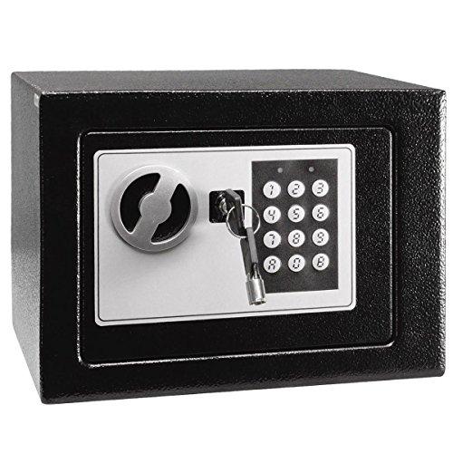 Tresor Safe mit Sicherheitscode und Doppelbolzen Verschlusssystem Geldsafe Wandtresor Wandsafe, Schwarz,17x23x17cm