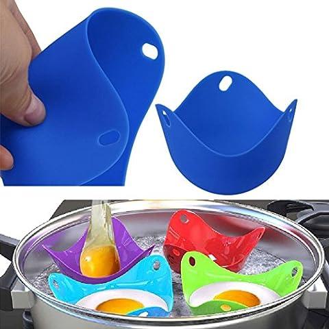 Artistic9(TM) 4pcs Coque en silicone Pocheuse à œufs pochés poach Tasse dosettes Moule Ustensiles de Cuisine pour bébé enfants