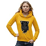 TWISTED ENVY Damen Kapuzenpullover Diving Black Crow Print X-Large Gelb