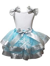 Copo de Nieve disfraz Cumpleaños Vestido Blanco Camisa Azul Pétalos Falda Outfit Set nb-8y