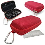 LOVE MY CASE / DURABLE Red MP3 Player Case, Hard Clamshell Case, Earphone Case, Holder with Carabiner Clip for Sony Walkman NWZ-E380 Video MP3 Player with Love My Case Cleaning Cloth