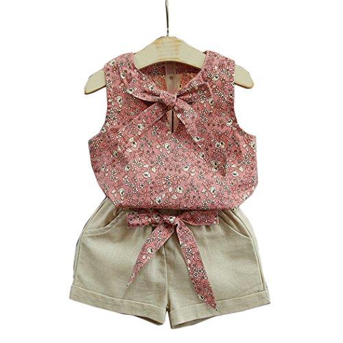 BINGMAX Mädchen Bekleidungssets West Shirt Top + Shorts Sommer Prinzessin Outfits Set Strandanzug Party Kostüme