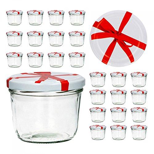 25er Set Sturzglas 230 ml To 82 weißer Deckel mit Schleifendekor Marmeladenglas Einmachglas Einweckglas