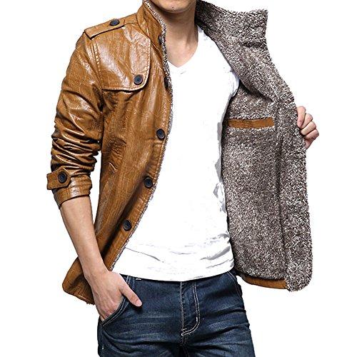 Highdas Winter PU Leder Jacken Thermische Mantel Mens Faux Leder Jacken Warme Kleidung Khaki-2