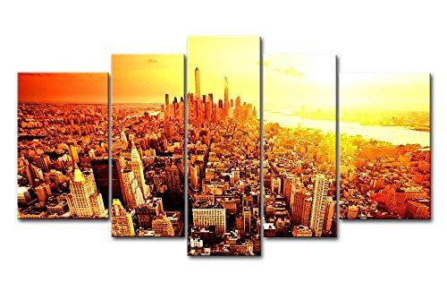 ür Home Decor NEW YORK CITY Sunrise 5Gemälde Moderne Giclée-gespannt und gerahmt-Kunstwerken Öl The City Bilder Foto Prints auf Leinwand (Das Empire Hotel New York Halloween)