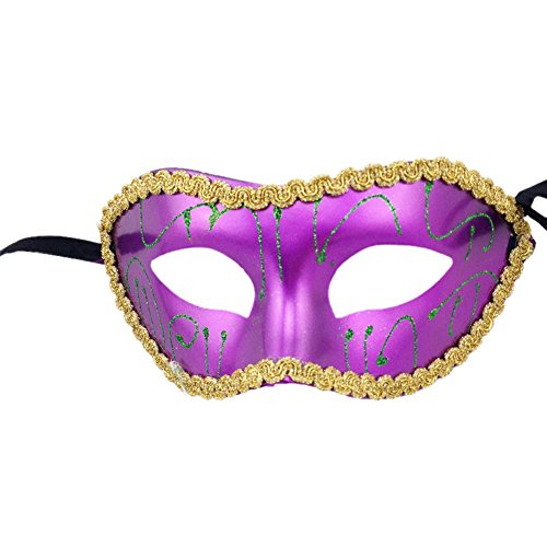 Drawihi Maske Herren Retro-Maske Cosplay Halloween Costume Party Maskerade Maske (Lila)