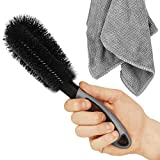 SARTEON Premium Felgenbürste für Perfekte Reinigung Hochwertiger Stahl- und Alufelgen - Felgenreinigungsbürste - Felgen Reinigen (3 Farben) (Grau)
