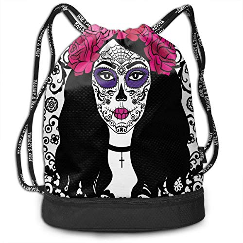 Girl Sugar Skull Make Up Street Drawstring Bag Backpack Bundle Backpack
