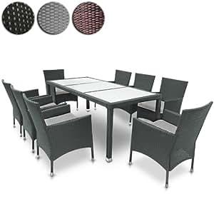 Salon de jardin terrasse gris ensemble 8 chaises table Table de jardin chez amazon