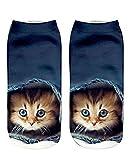 Gluckliy Women Girls Low Ankle Athletic Funny Socks Cute Cat Novelty Happy Socks Fitness Sport Stocking (Cat 3)