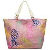 CASPAR TS1061 große Damen/Familien XXL Stroh Sommer Strandtasche/Shopper mit buntem Ananas Print, Farbe:rosa;Größe:One Size