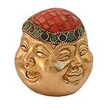 purpledip Lachender Buddha Statue Vier Gesichter der Life (Freude, Sorge, anger & Serenity): reinem Messing Metall mit Edelsteine; Feng Shui Glücksbringer (10992)