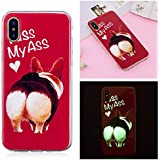 Coque iPhone X, Coque iPhone 10, BONROY® Kiss My Ass Motif Mode Night Etui Coque Housse Luminous Effect Noctilucent Green Glow in the Dark Ultra Mince Soft Rubber Souple TPU Silicone Case Cover Anti-scratch Anti Choc Flexible Bumper Protective Cover Skin Shell Pour iPhone X / iPhone 10