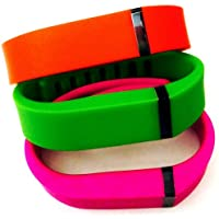Preisvergleich für ! Small S 1pc Green 1pc Red (Tangerine) 1pc Purple / Pink Replacement Bands + 1pc Free Small Grey Band With Clasp for Fitbit FLEX Only /No tracker/ Wireless Activity Bracelet Sport Wristband Fit Bit Flex Bracelet Sport Arm Band Armband