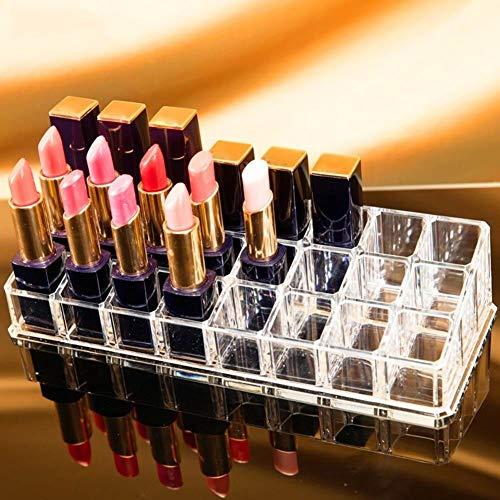 nagellack aufbewahrung acryl aufbewahrung Lippenstiftständer Aufbewahrung, 24 Grid Transparent Acryl Lippenstift Display Rack Augenbrauenstifthalter -