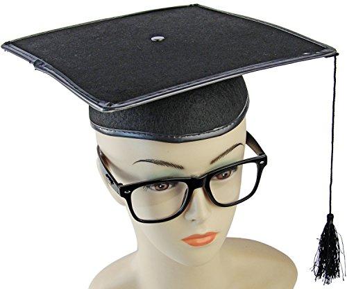 Sexy NERD Kostüm mit Brille und Hut Professorin (Nerd Kostüm Mit Brille)